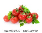 ripe red tomatoes  basil  and ... | Shutterstock . vector #182362592