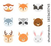 cute funny animal heads.... | Shutterstock .eps vector #1823635745