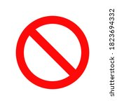 red prohibition sign isolated...   Shutterstock .eps vector #1823694332