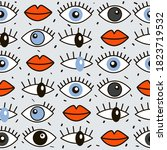 collection of eyes with...   Shutterstock .eps vector #1823719532