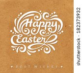happy easter lettering greeting ... | Shutterstock .eps vector #182373932