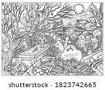 black and white vector... | Shutterstock .eps vector #1823742665