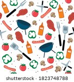 grill and bbq pattern of... | Shutterstock .eps vector #1823748788