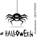 smiling spider hanging down on...   Shutterstock .eps vector #1823755055