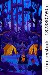 a glamorous camp fire in dark... | Shutterstock . vector #1823802905