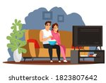 happy couple watching tv at... | Shutterstock .eps vector #1823807642