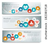 three medical banners with... | Shutterstock .eps vector #182381918
