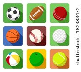 set of sport icons in flat style | Shutterstock . vector #182383472