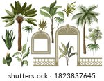 tropical trees and windows ...   Shutterstock .eps vector #1823837645