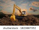 Excavators Are Digging The Soil ...