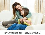 portrait of mother and daughter ... | Shutterstock . vector #182389652