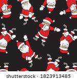 funny cartoon santa dancing hip ... | Shutterstock .eps vector #1823913485