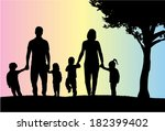 silhouettes of the parents and... | Shutterstock .eps vector #182399402