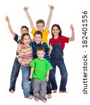 group of happy kids with thumbs ... | Shutterstock . vector #182401556