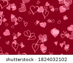 hearts background red romantic...   Shutterstock . vector #1824032102