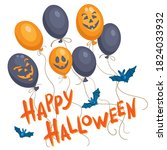 happy halloween. poster with... | Shutterstock .eps vector #1824033932