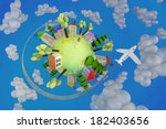 planet with flowers painted... | Shutterstock . vector #182403656