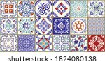 collection of 18 ceramic tiles... | Shutterstock .eps vector #1824080138