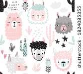 seamless pattern with cute... | Shutterstock .eps vector #1824085355