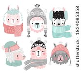 cute llamas in winter clothes.... | Shutterstock .eps vector #1824085358