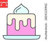 birthday cake color line icon ...