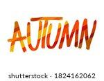 autumn doodle lettering. hand...   Shutterstock .eps vector #1824162062
