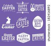 happy easter vector set  ... | Shutterstock .eps vector #182416892