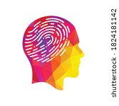 fingerprint in human head icon. ... | Shutterstock .eps vector #1824181142
