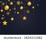 christmas 3d gold balls  stars... | Shutterstock .eps vector #1824211082