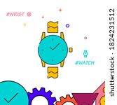 wrist watch filled line vector...