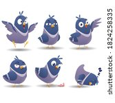 collection of bird character... | Shutterstock .eps vector #1824258335