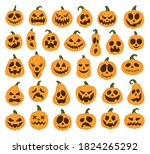 set of halloween scary pumpkins ... | Shutterstock .eps vector #1824265292