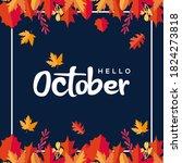 hello october vector design...   Shutterstock .eps vector #1824273818
