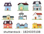 villa of house cartoon set icon. | Shutterstock .eps vector #1824335108