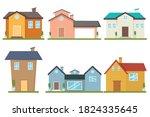 set of  modern houses front... | Shutterstock .eps vector #1824335645