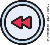 previous vector color line icon