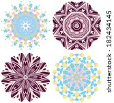lace ornament set  watercolor... | Shutterstock .eps vector #182434145
