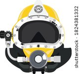 diving helmet.  scuba deep sea... | Shutterstock .eps vector #1824381332