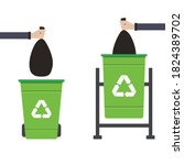 dustbin recycle hand holding... | Shutterstock .eps vector #1824389702