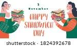 happy sandwich day. men and... | Shutterstock .eps vector #1824392678