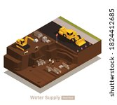 water supply system isometric... | Shutterstock .eps vector #1824412685