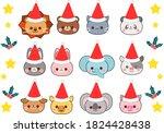 animal christmas santas with... | Shutterstock .eps vector #1824428438