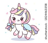 cute unicorn cartoon fairy pony ... | Shutterstock .eps vector #1824463358