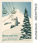 Winter Landscape With Ropeway...