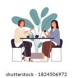 female friends drinking tea... | Shutterstock .eps vector #1824506972