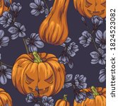 seamless pattern with halloween ...   Shutterstock .eps vector #1824523082