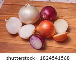 onions on a wooden board.whole...