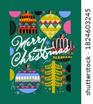 2021  merry christmas and happy ... | Shutterstock .eps vector #1824603245