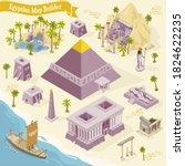 egyptian map builder isometric...   Shutterstock .eps vector #1824622235