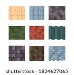 tile roof color set. oval...   Shutterstock .eps vector #1824627065